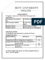 Diploma in Business Management Assignment Amity University