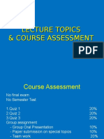 Chapter LECTURE TOPICS& COURSE ASSESSMENT1 2012