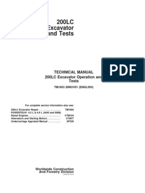 john deere 200 wiring diagram 200lc technical manual operation and tests tm1663 pdf diesel  200lc technical manual operation and
