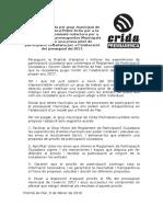 Moció per la  creació d'una comissió redactora per l'elaboració dels pressupostos municipalsper iniciar prova pilot de participació ciutadana per l'elaboració del pressupost  2017. Febrer 2016