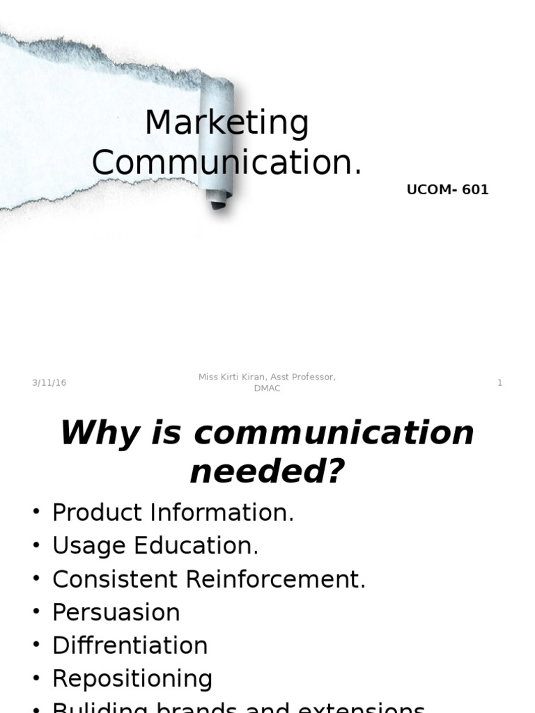 Marketing Communication.: UCOM-601