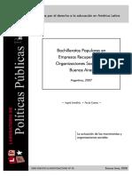 Bachilleratos Populares en Empresas Recuperadas y Organizaciones Sociales