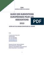 Guide des Subventions Européennes pour les associations 2010-Preview