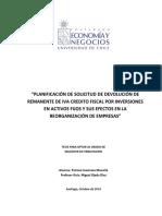 Planificación de Solicitud de Devolución de Remanente de Iva Crédito Fiscal Por Inversiones en Activos Fijos y Sus Efectos