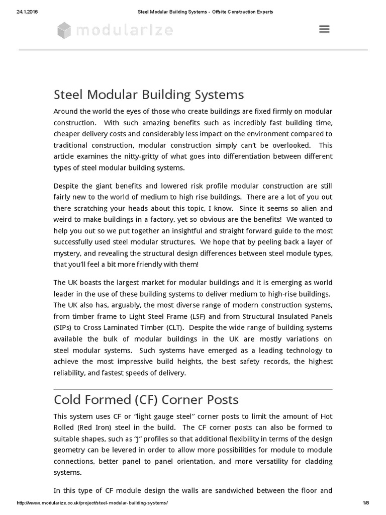 Steel Modular Building Systems - Offsite Construction