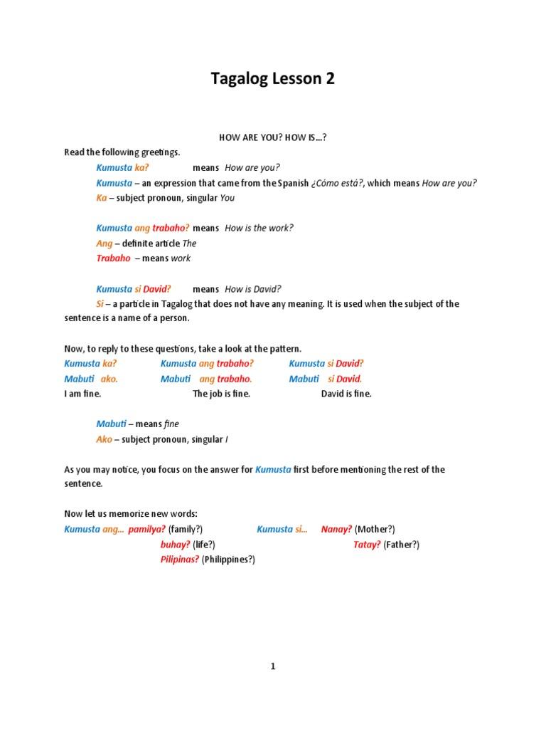 Tagalog Lesson 2