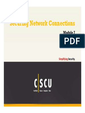 CSCU Module 07 Securing Network Connections pdf | Wireless Lan