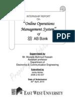 Internship Report on AB Bank Online Operations Management System