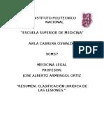 Clasificiación Jurídica de Las Lesiones