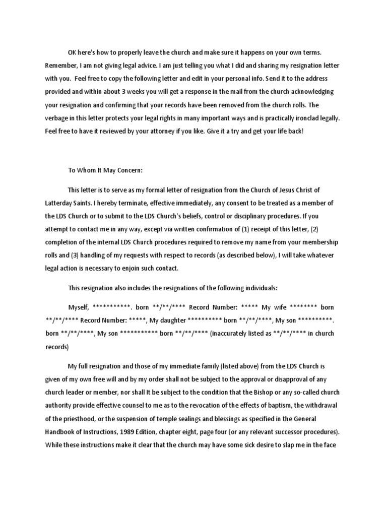 Lds Resignation Letter 23pdf The Church Of Jesus Christ Of