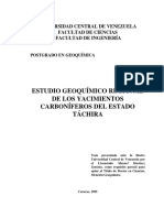 ESTUDIO GEOQUÍMICO REGIONAL DE LOS YACIMIENTOS CARBONÍFEROS DEL ESTADO TÁCHIRA