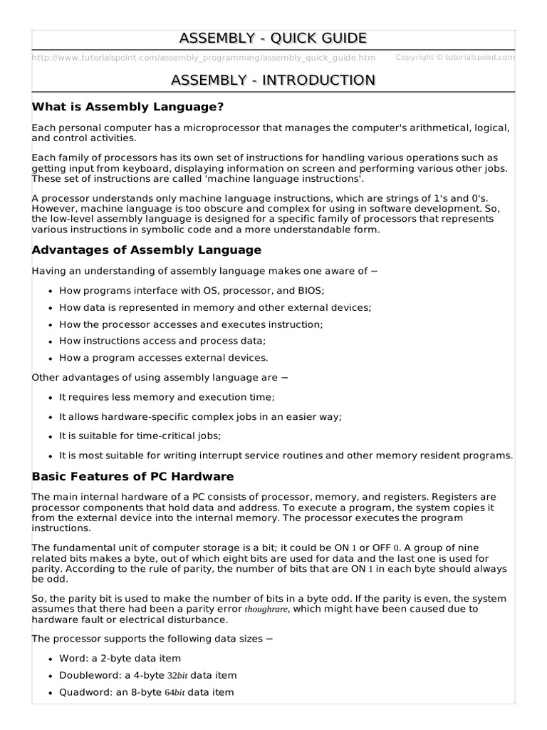 Assembly Quick Guide | Assembly Language | Instruction Set