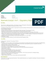 Business Analyst AVP – Regulatory Reporting