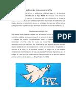 1 de Enero Día Internacional de La Paz