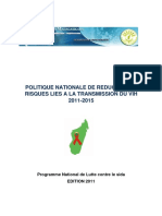 Politique nationale de réduction de risques lies à la transmission du VIH 2011-2015