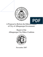 Proposal to Reform the Ethical Culture of City of Albuquerque Government