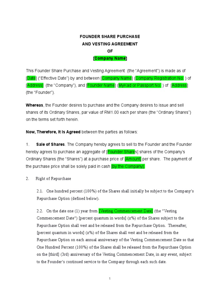 Vesting Agreement Template | Vesting | Securities (Finance)