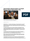 Administration Defends Health Law Despite Medicare Report Hiking Nation's Tab
