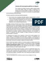 Las Medidas Economicas de Los Proyectos Politicos en Disputa