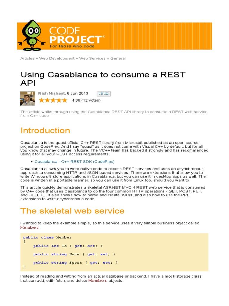 Using Casablanca to Consume a REST API 1 | Representational
