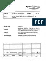 Especificaciones de Construccion y Montaje de Tuberias