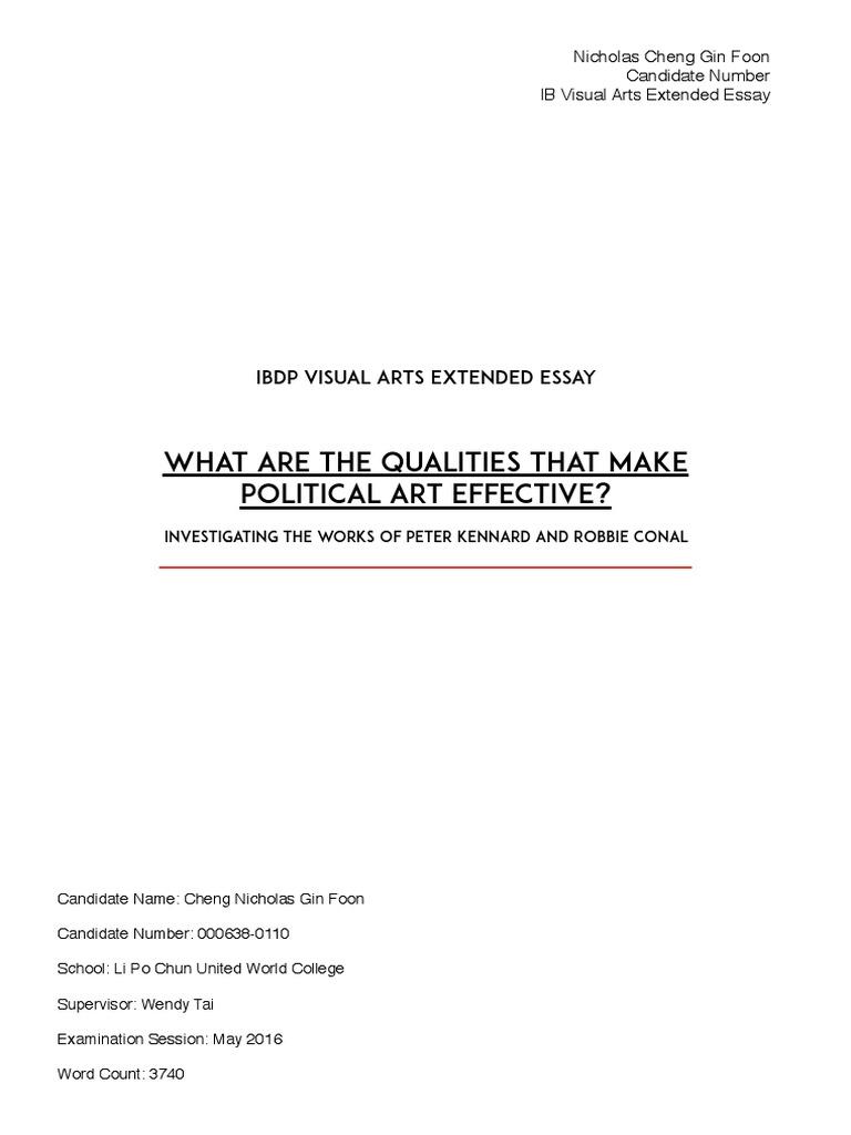 Visual Arts Extended Essay IB Political Art
