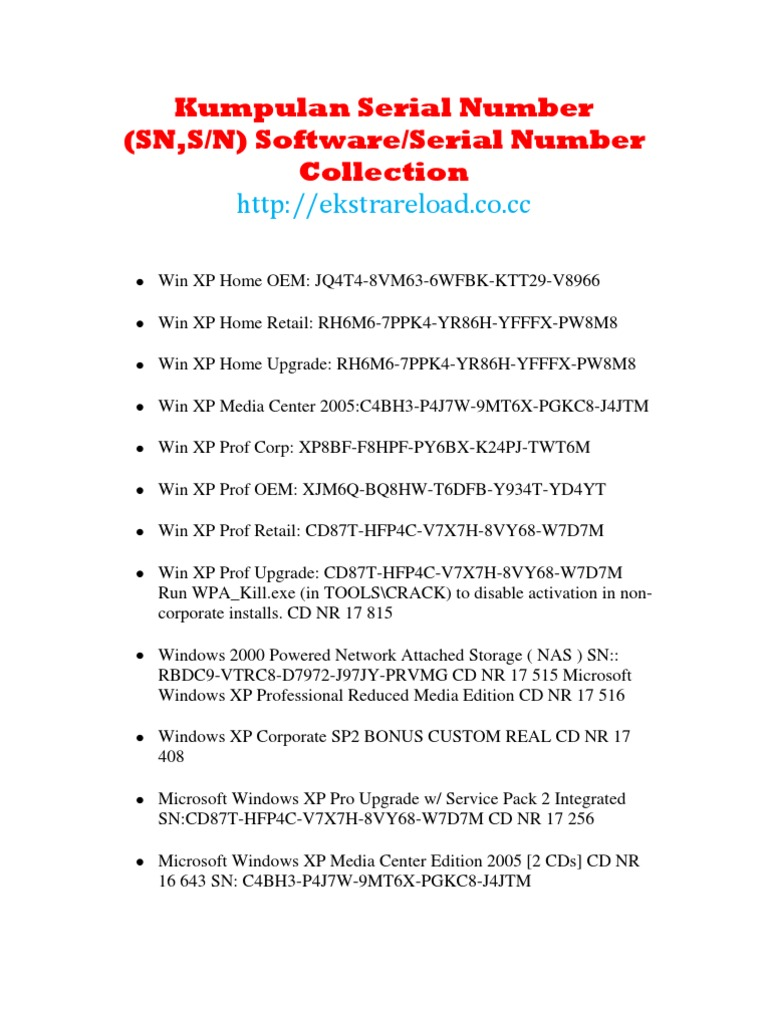 serial windows xp professional sp3 oem