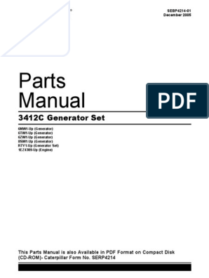 3412C GENERATOR SET PARTS MANUAL pdf