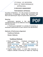 PERFORMANCE APPRAISAL METHODS - TRADITIONAL & MODERN - SHORT NOTES
