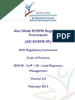 AD EHS RI CoP 1.20 - Lead Exposure Management