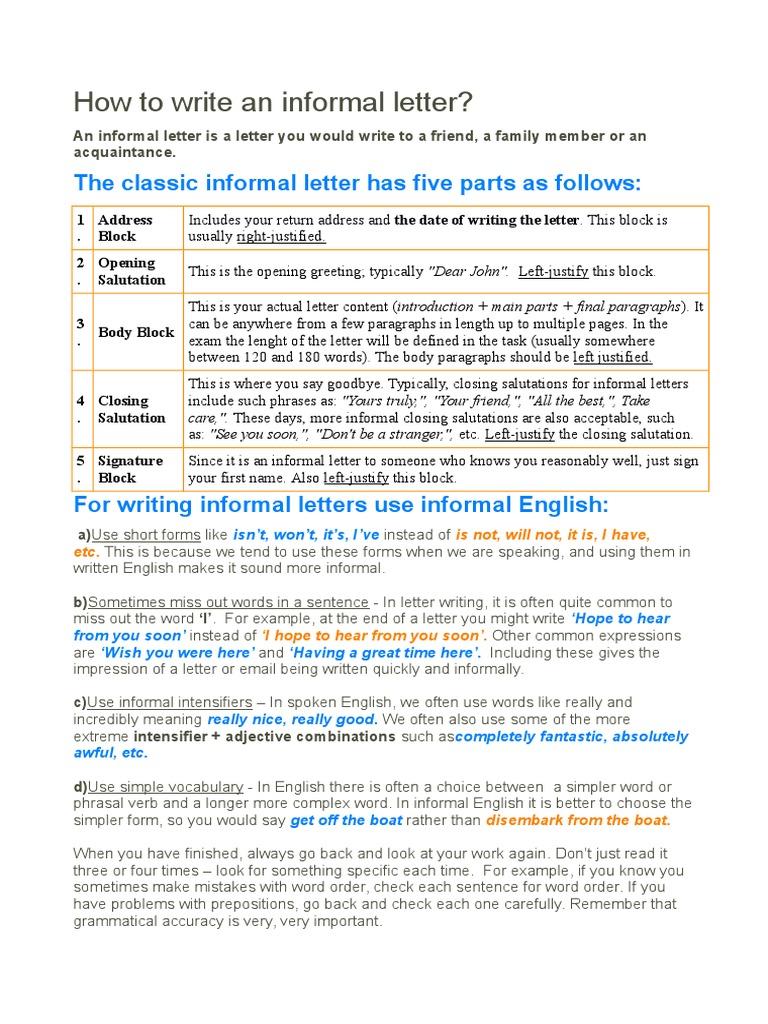 How to write an informal letter english language word mitanshu Gallery
