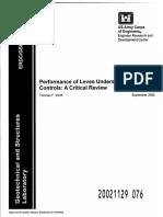 Performance of Levee Underseepage Controls