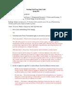 Final Exam Study Guide Spring 2015