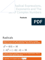 Radicals Exps, Rational Exponents, Set of Complex Nos