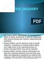 Letter Inquiry