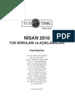 Nisan 2010 TUS Sınav Soruları ve Açıklamalı Cevapları