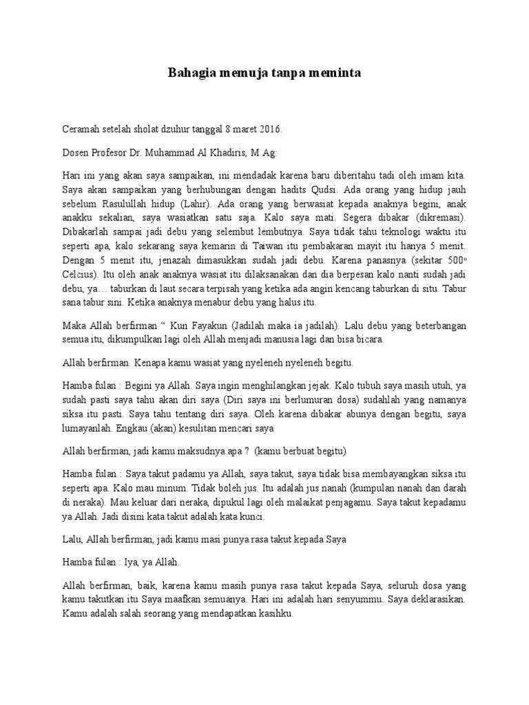 Ceramah Setelah Sholat Dzuhur Tanggal 8 Maret 2016
