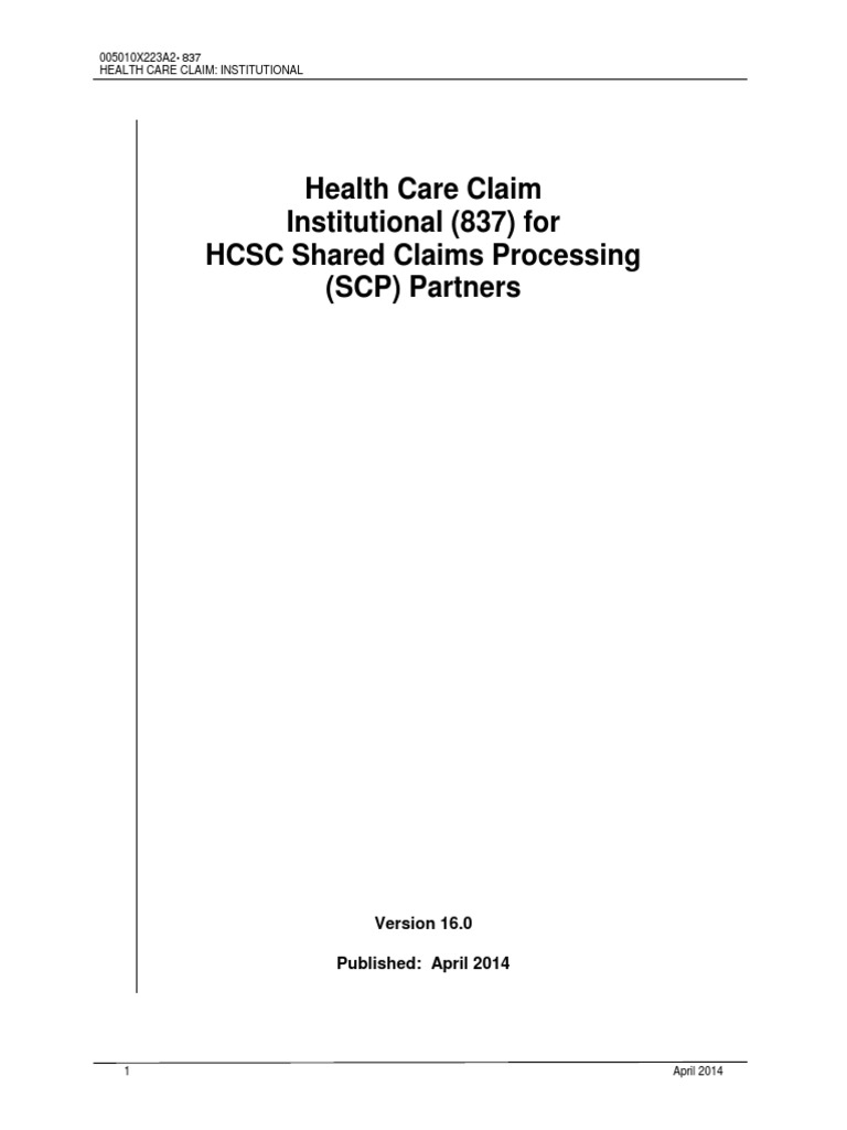 Hipaa 837 Inst | Health Insurance Portability And