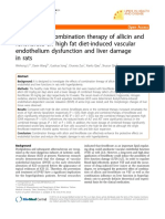 The Effect of Combination Therapy of Allicin and Fenofibrat on High Fat Diet Induced Vascular Endothelium Dysfunction and Liver Damage in Rats