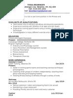 revised resume for school