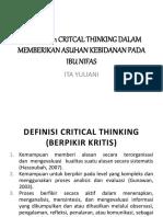 Menerapkan Critcal Thinking Dalam Memberikan Asuhan Kebidanan Pada