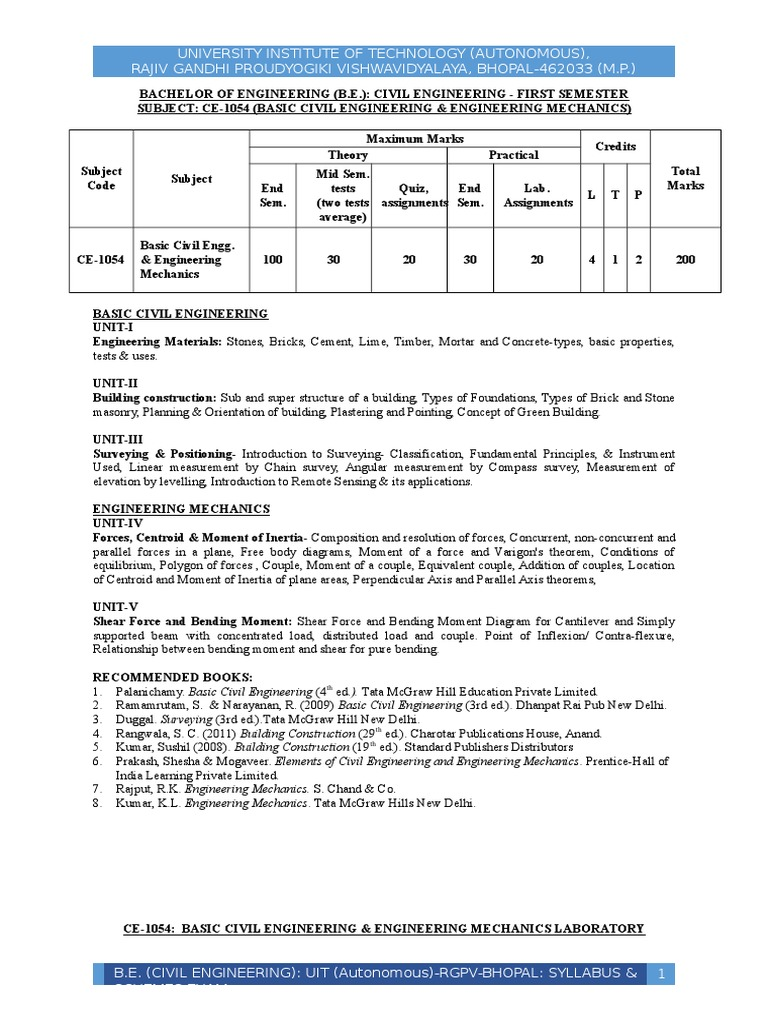 syllabus b e civil engineering autonomous all semester grading syllabus b e civil engineering autonomous all semester grading system uit rgpv bhopal concrete