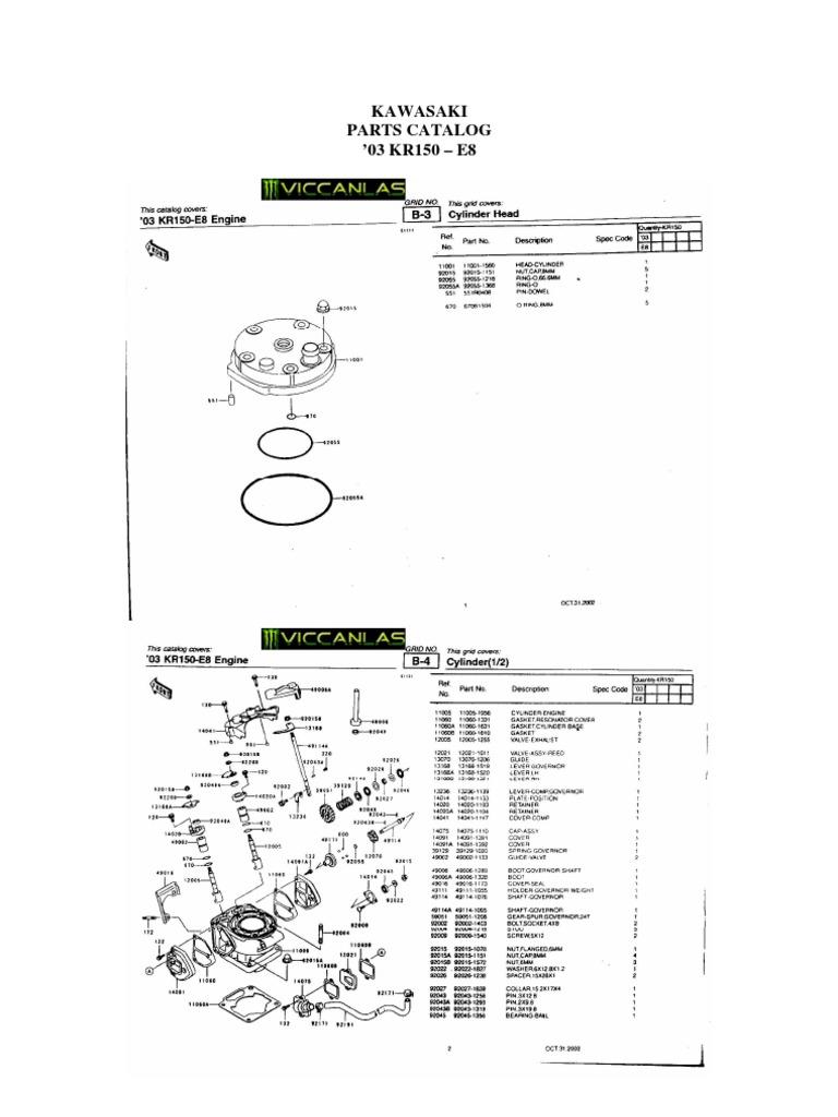 KAWASAKI KR 150 parts catalog