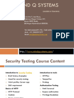 Security Testing Course Content