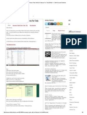 Free Power-Pack Add On Features For Tally ERp9 pdf | Value