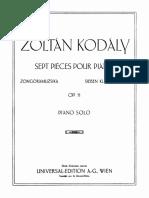 Kodaly-7 PianoPiecesOp.11 Pianoscore