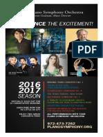 Plano Symphony 2016-2017 Season Brochure