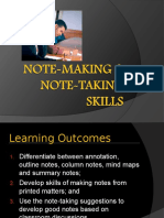 Learning skills - Note Making and Note Taking