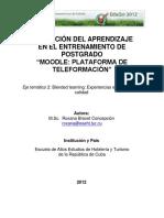 Activacion Del Aprendizaje en El Entrenamiento de Postgrado Moodle Plataforma de Teleformacion