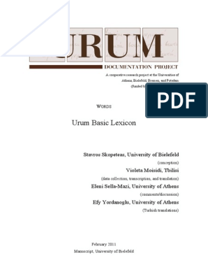 Urum Lexicon Lexicon Translations